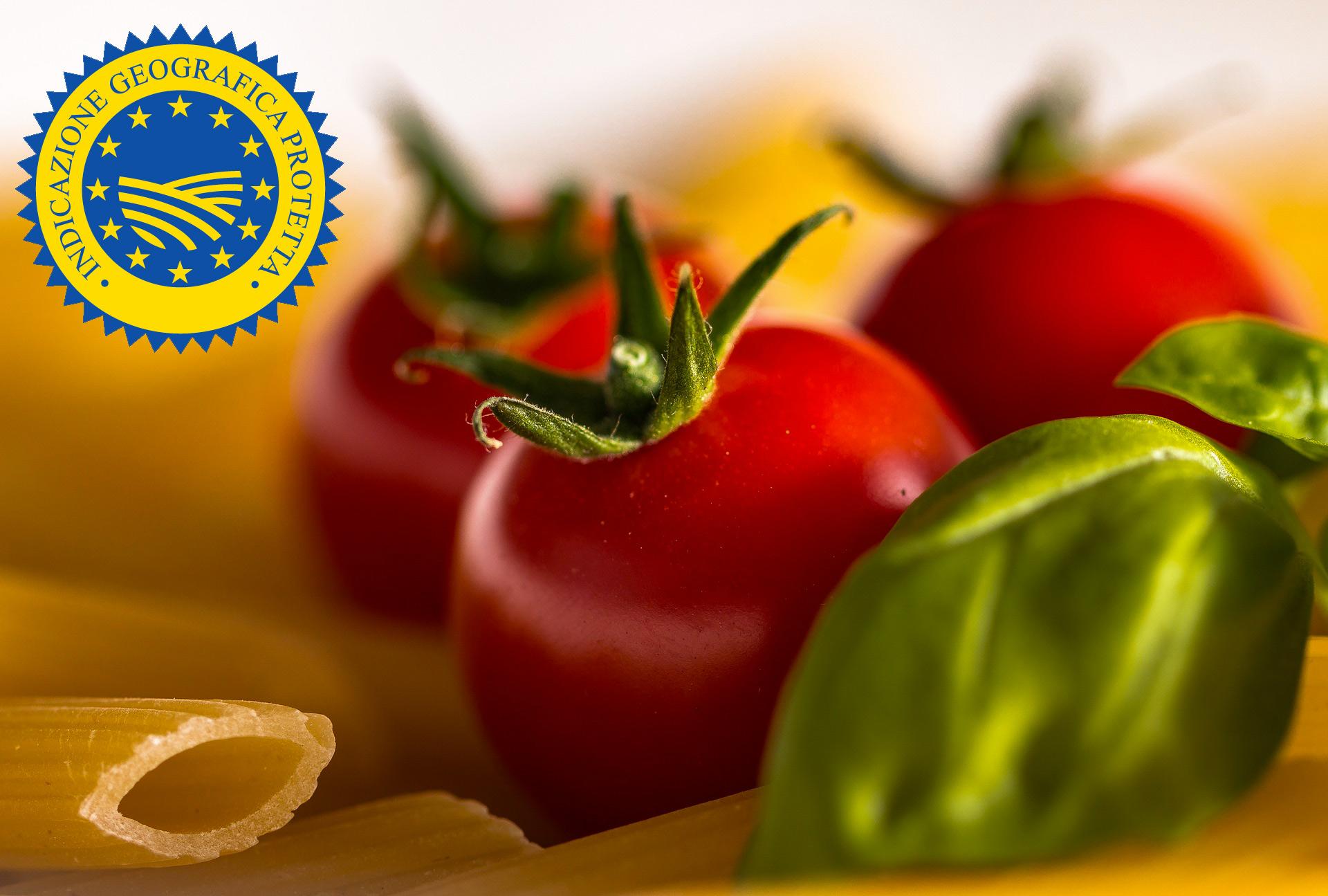 cibo italiano con la rappresentazione del marchio igp
